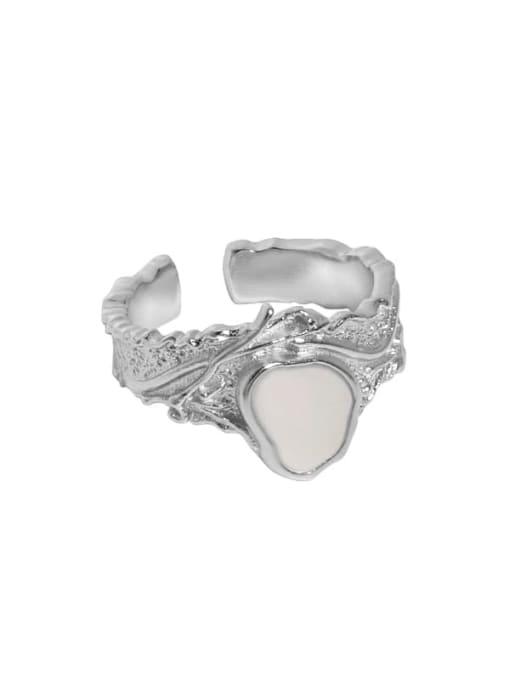 Platinum [15 adjustable] 925 Sterling Silver Shell Irregular Vintage Band Ring